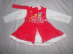 Платье длинный рукав на девочку 6-9 месяцев