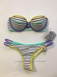 Victoria&acutes Secret купальник оригинал бандо полоска цветной 32С, S подарок