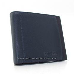 Кошелек-купюрник мужской кожаный черно-синий Prada 1178с