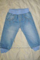 Джинсы голубые с резинкой для малышки 9-12 месяцев, PRIMARK