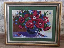 Картина вышитая бисером Букет маков и васильков