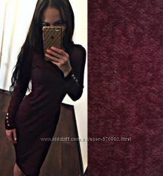 Платье из ангоры с пуговицами на рукавах