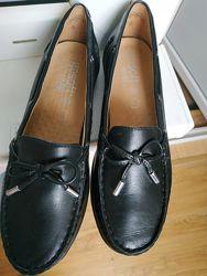 Новые кожаные туфли-мокасины
