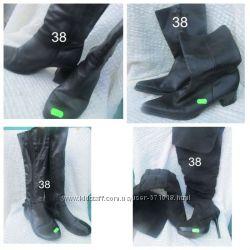 чорні чоботи 38 сапоги ботинки