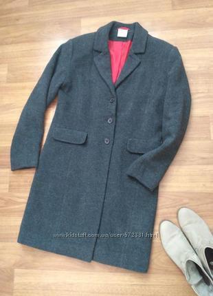 Серое демисезонное пальто оверсайз, бойфренд размер s