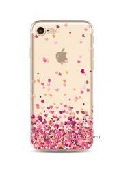 Силиконовый чехол с разноцветными сердцами для iphone 7 8
