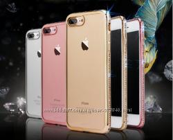 Силиконовый прозрачный чехол с камнями для Iphone 6 6s7 7pl 8 8pl x xs xr