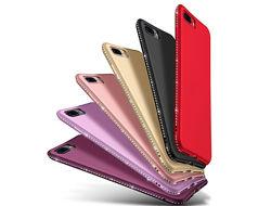 Силиконовые чехлы с камнями Сваровски для iPhone 6s 7 7pl 8 8pl X 11 11pro