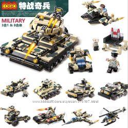Конструктор COGO 25 моделей 8 в 11 х 3 834 детали милитари новый