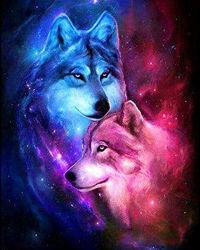 Алмазная живопись, набор картина стразами, пара волков 2