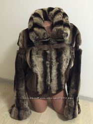 Шуба-курточка, полушубок из шиншиллы рекс 42р