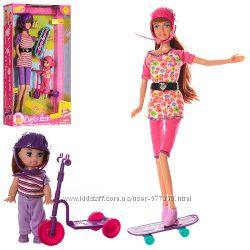 Кукла Defa Lucy 8191 с дочкой, самокат, скейт типа Барби