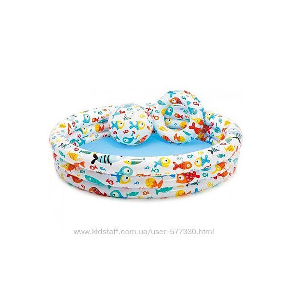 59469 Бассейн надувной intex мяч и круг