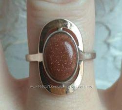 Перстень серебро золото авантюрин