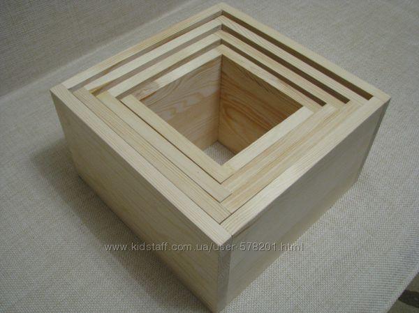 Настенные деревянные полочки Матрешка 4 шт, жалюзийные дверки