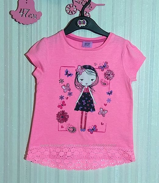 Розовая футболка с девочкой F&F р. 18-24 мес
