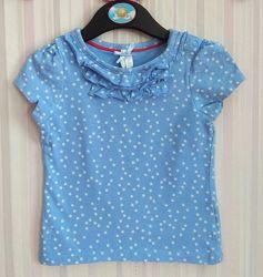 Голубая футболка в звездочку Mothercare р. 9-12 мес