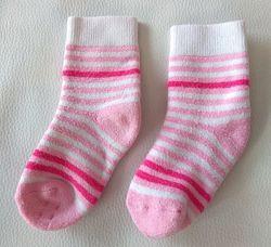 Розовые махровые носки в полоску р. 12