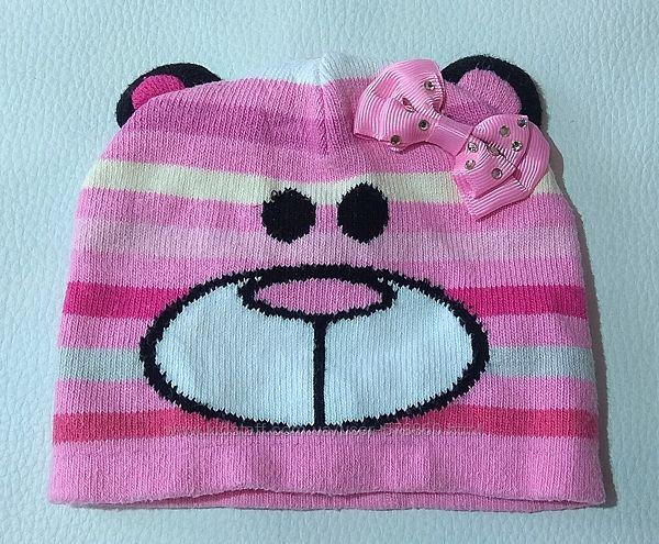 Розовая полосатая шапка с бантиком ANPA р. 45-46