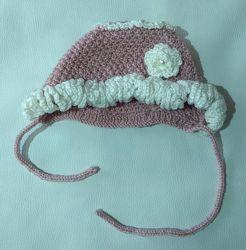 Розово-белая шапка HandMade с оборками и цветком ОГ 44-46