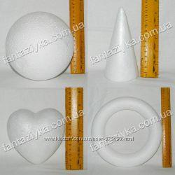Основы из пенопласта, шары, конусы, сердца