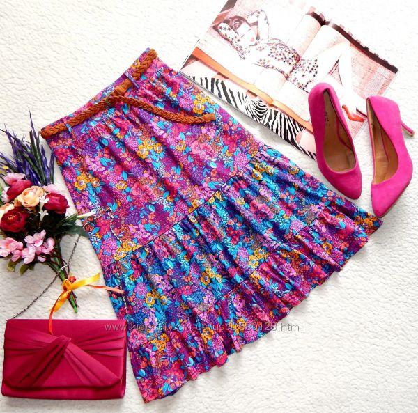 Милая миди юбка TU в яркий цветочный принт