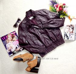 Стильная актуальная куртка ZARA цвета марсала из эко-кожи
