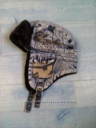 Джинсовая шапка-ушанка