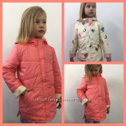 Яркая демисезонная двусторонняя куртка для девочки, р-р 110, 116, 128