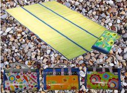 Коврик для пляжа, пикника, пляжный коврик двусторонний cоломка  фольга