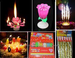 Музыкальная свеча, свечи и гирлянда С днём рождения, холодный фонтан