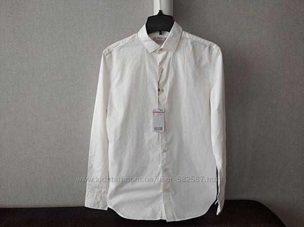 Белая мужская приталенная рубашка Mango slim fit рубашка слим фит