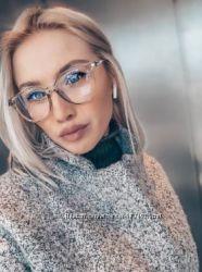 Имиджевые очки, серые, прозрачные