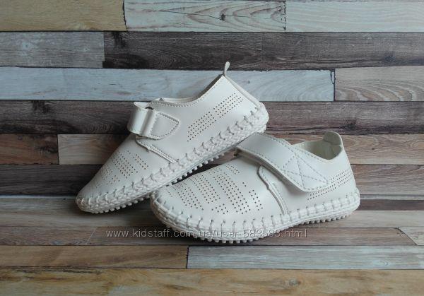 Туфли-мокасины летние белые 17.5 см и 18 см