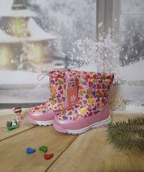 Зимние сапоги дутики девочке BiKi 27-32р розовые