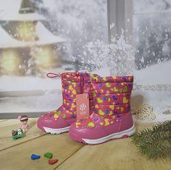 Зимние сапоги дутики девочке BiKi 27-32р темно-розовые