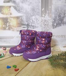 Зимние сапоги дутики девочке BiKi 27-32р фиолетовые