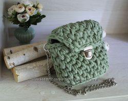 34535a4bb431 Фисташковая сумка с крышечкой из трикотажной пряжи, 670 грн. Женские ...