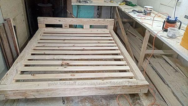 Двухспальная кровать 160х200см из массива сосны браширована состарена
