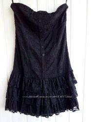 Черное платье бюстье