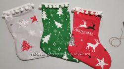 Новогодняя упаковка, новогодний мешочек, новогодние носки для декора.