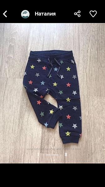 Штаны спортивные h&m для девочки, для мальчика на 6-12 месяцев, рост 74 см.