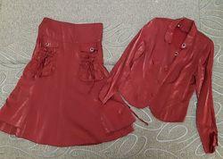 Красивый оригинальный женский костюм двойка, пиджак и юбка 48 размер