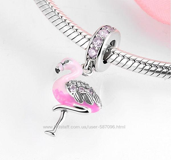 Новый серебряный шарм Фламинго в стиле Пандора Pandora на браслет или цепоч