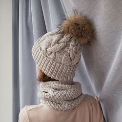 Вязанные комплекты шапка снуд варежки ручной работы