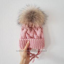 Детская вязаная шапочка косами ручной работы градиент