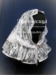 Белоснежный, гипюровый платок на венчание.