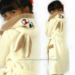 Детский махровый халатик Зайка с ушками
