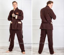 Мужской теплый домашний костюм пижама
