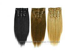 Волосы на заколках натуральные. PREMIUM качество